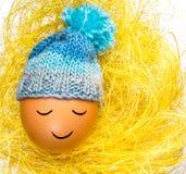 Egg с смешной сонной стороной и связанной крышкой Стоковое Изображение RF