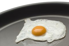 Egg. Close up in a frying pan Stock Image