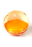 Egg. Yolk In Cracked Shell Isolated On White Royalty Free Stock Photo