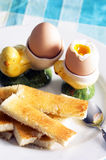 Egg. Soft boiled eggs on plate with toast Royalty Free Stock Photos