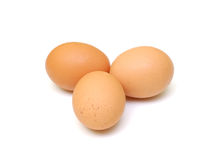 Egg. Tree eggs isolated on a white royalty free stock photo