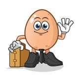 Egg al trabajador que celebra el ejemplo de la historieta del vector de la mascota de la maleta stock de ilustración