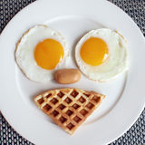 Egg ausage and waffle Stock Photos