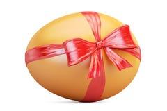 Egg avec le plan rapproché d'arc et de ruban, concept de cadeau rendu 3d Photographie stock libre de droits