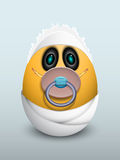 Egg baby with a pacifier. stock illustration