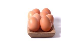 egg bacia quadrada de madeira no fundo branco isolado Imagem de Stock Royalty Free