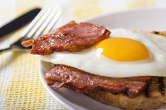Egg and bacon with toast Stock Images