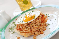 Egg On Baked Beans Royalty Free Stock Photos