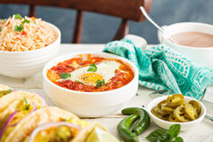 Egg baked in tomato sauce Royalty Free Stock Photography