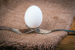 Egg balancing by two forks Royalty Free Stock Image