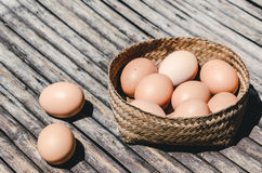 Egg in bamboo mat basket: cinematic scene Royalty Free Stock Photo