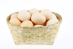 The egg. Egg in the basket Stock Photos