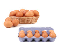 Egg Basket and blue carton box with eggs Royalty Free Stock Images