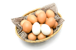 Egg in a basket with brown cloth. Stock Image