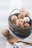 Egg basket country style. And wooden spoon Royalty Free Stock Photo