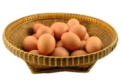 Egg on basket. Eggs on Thai wooden basket Royalty Free Stock Photos