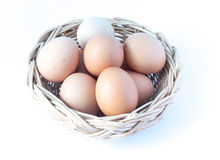 Egg in basket Royalty Free Stock Images