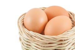 Egg in basket Stock Images
