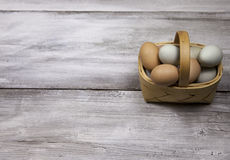 Egg basket on rustic background. A basket of fresh farm raised eggs on rustic whitewashed background Stock Photography
