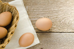 Egg in the basket Stock Photography