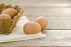 Egg in the basket Royalty Free Stock Photos