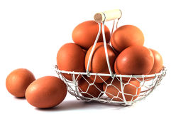 Egg basket. On white background stock photos