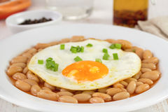 Egg with beans in tomato sauce Stock Photos