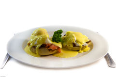 Egg benedict. Two egg benedict on place with smoked salmon Stock Photos