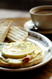 Egg Benedict Breakfast. Muffin with eggs and ham. Full breakfast Royalty Free Stock Photos
