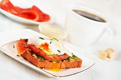 Egg benedict for breakfast Stock Images