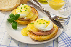 Egg Benedict with roasted ham, toasts and fresh hollandaise sauce. Eggs Benedict- toasted English muffins, ham, poached eggs, and delicious buttery hollandaise Stock Image