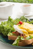 Egg Benedict. Serve with tea Royalty Free Stock Images