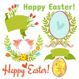 Egg, birds, flowers, easter. Set of vintage, Easter elements: flowers, eggs, Happy Easter labels, ribbons and birds on a white background for invitations Royalty Free Stock Image