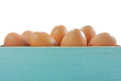 Egg in blue wood box Royalty Free Stock Photos