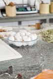 Egg Bowl And Spaghetti Pasta On Countertop Stock Images