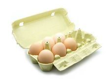 Egg box. Eggs in box isolated on white background Stock Photos