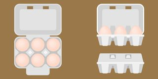 Egg box in aerial view and front view. Close and open box, flat design vector vector illustration