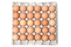 Egg box and eggs Royalty Free Stock Images