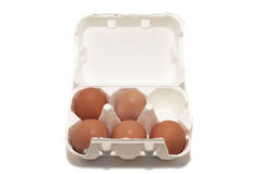 Egg-box with five eggs Stock Photo