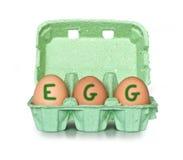 Egg box letters EGG Stock Images