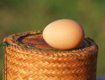 Egg on box. Egg on the rice box Stock Photo