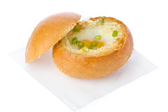 Egg in a Bread Bowl Stock Photos