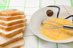 Egg and bread prepared for french toast Royalty Free Stock Photos