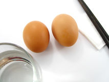 Egg for breakfast. This is egg and water for simple breakfast Royalty Free Stock Photography