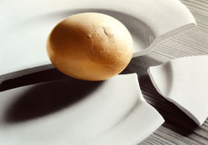 Egg on broken plate Royalty Free Stock Images