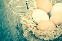 Egg on brown burlap Royalty Free Stock Photo