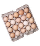 Egg. Brown eggs in an egg box, high angle view Stock Photography