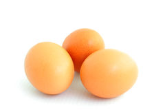 3 egg. A 3 brown egg  on a white background Stock Photos