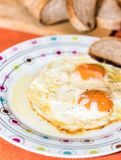 Egg bullseye. Fried eggs with butter and pepper and pecorino royalty free stock images