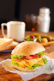 Egg Burger Added with Cheese, Bacon and Lettuce Royalty Free Stock Photos